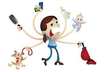 moeder met stress